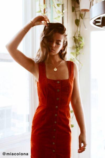 UO Corduroy Button-Down Mini Dress