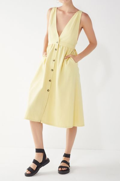 UO Danny Plunging Button-Down Denim Midi Dress