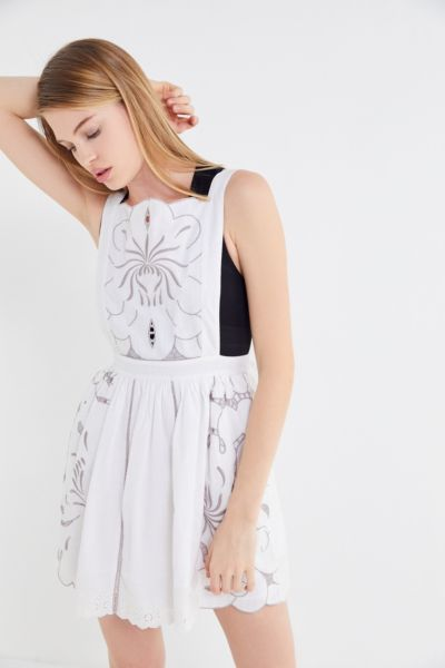 UO Dolly Embroidered Mini Apron Dress