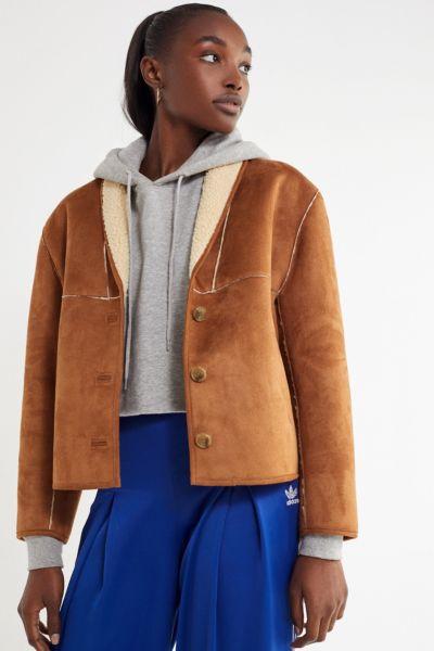UO Easton Faux Suede Sherpa Jacket