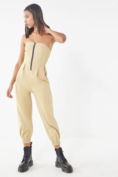 UO Echo Twill Zip-Front Jumpsuit