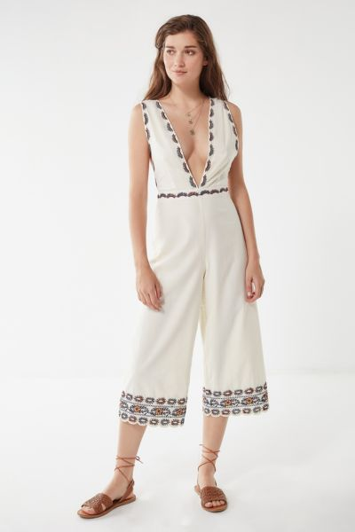 UO Embroidered Plunging Jumpsuit