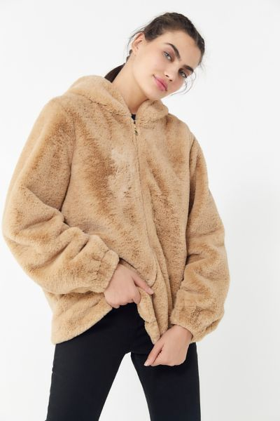 UO Faux Fur Hooded Zip-Front Jacket