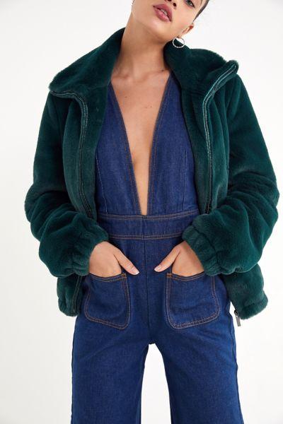 UO Faux Fur Zip-Up Jacket