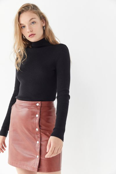 UO Faux Leather Side-Button Mini Skirt