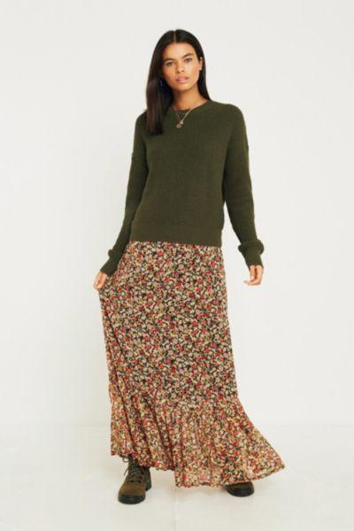 UO Floral Drop Peplum Maxi Skirt