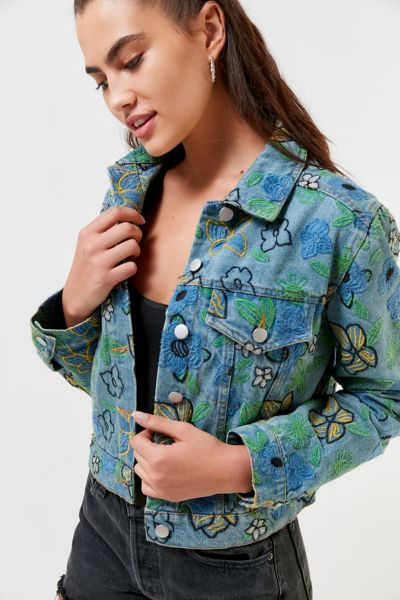 UO Floral Embroidered Trucker Jacket