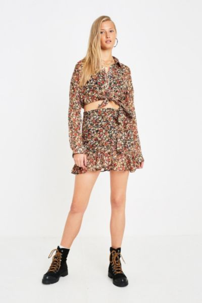 UO Floral Ruffle Skirt