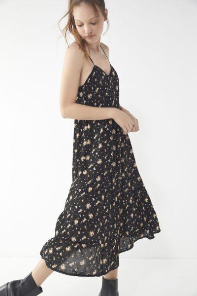 UO Floral Tiered Ladder Stitch Trim Midi Dress