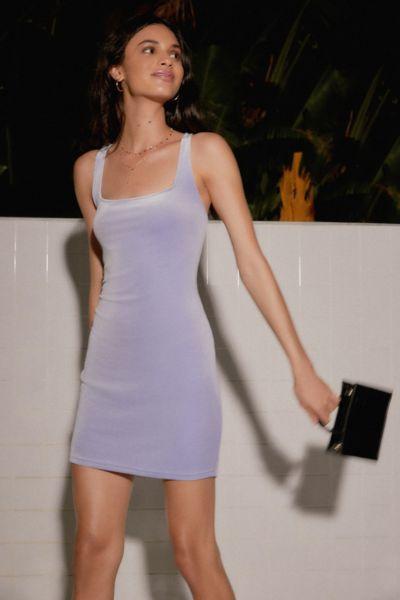 UO Hailey Velvet Square-Neck Mini Dress