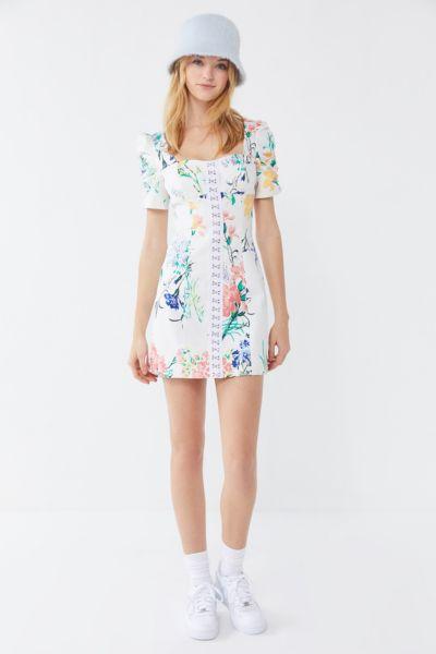 UO Hallie Floral Puff Sleeve Mini Dress