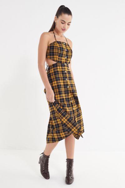 UO Halter Linen Button-Down Tie Dress