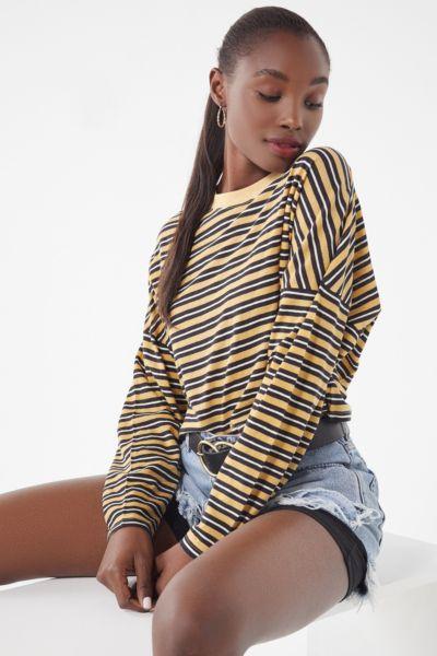 UO Jana Striped Long Sleeve Cropped Top