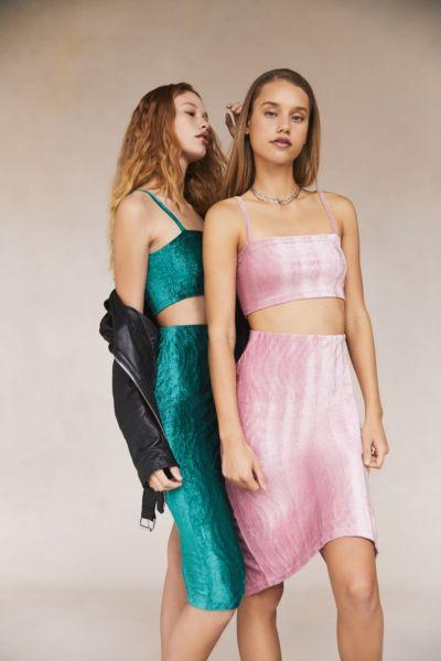 UO Kimmy Velvet High-Rise Midi Skirt