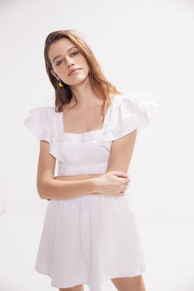 UO La Petite Poupée Tie-Back Mini Frock Dress