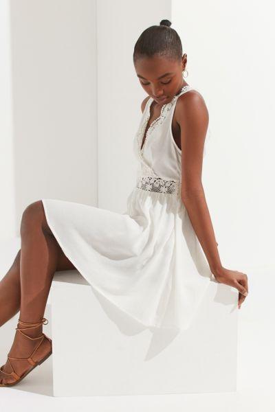 UO Lace-Trim Surplice Mini Dress