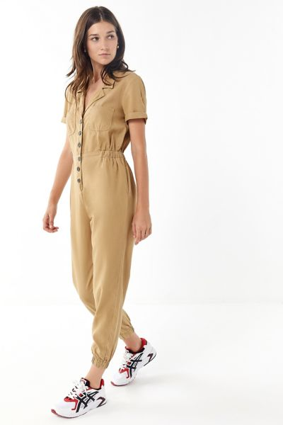 UO Lucy Collared Button-Front Jumpsuit