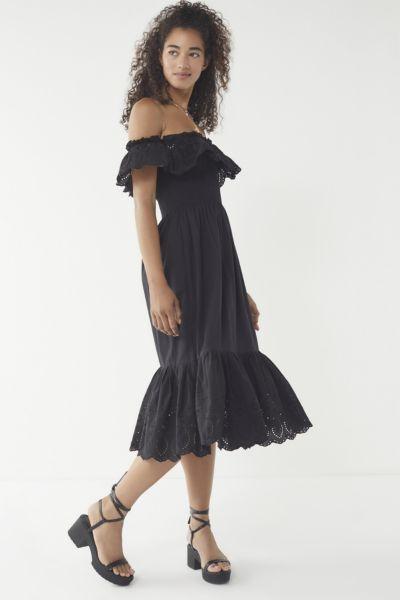 UO Off-The-Shoulder Eyelet Midi Dress