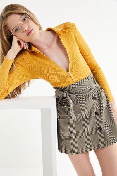 UO Penelope Plaid Paperbag Wrap Skirt