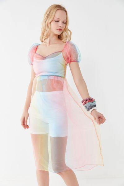 UO Rainbow Organza Puff Sleeve Midi Dress