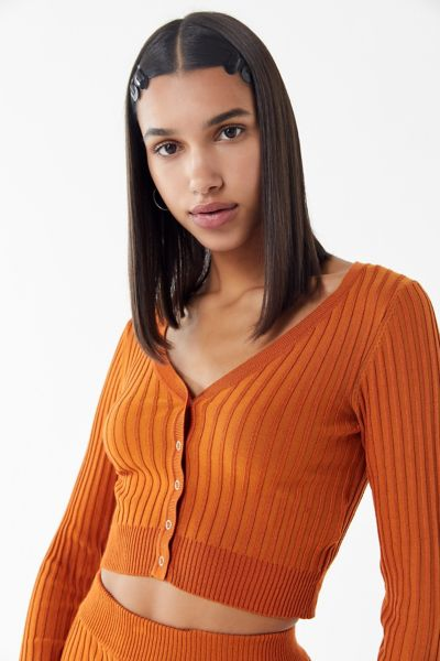 UO Rhyan Ribbed Cardigan Cropped Top
