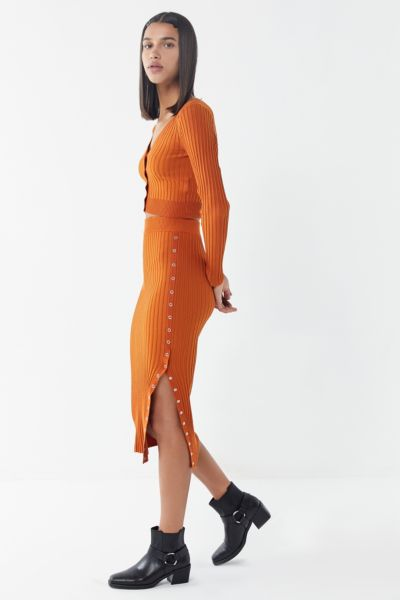 UO Rhyan Ribbed Midi Skirt