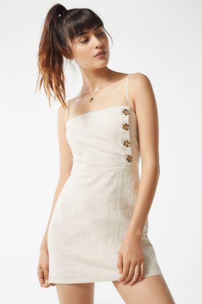 UO Riley Button-Down Linen Mini Dress
