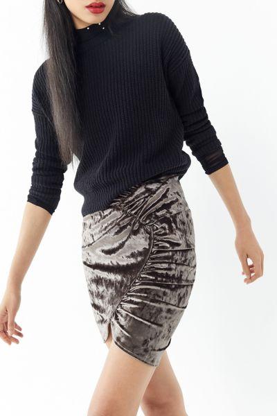 UO Selma Velvet Ruched Mini Skirt