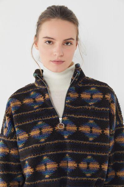 UO Southwestern Fleece Half-Zip Pullover Sweatshirt