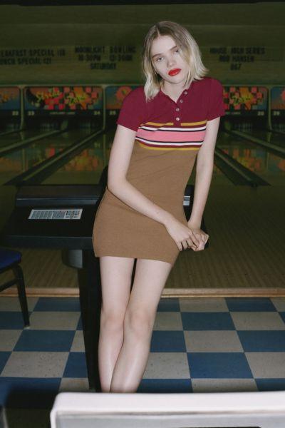UO Striped Button-Down Polo Dress
