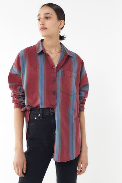 UO Striped Twill Button-Down Shirt