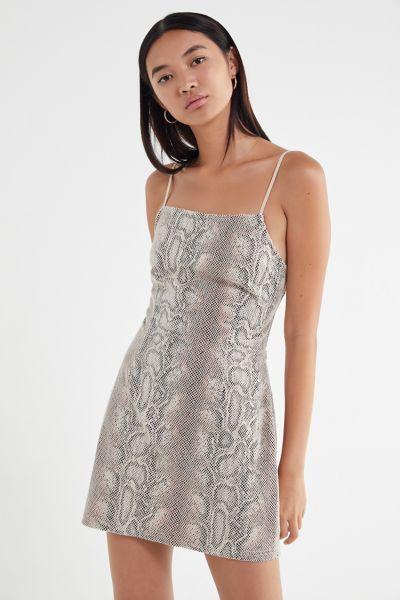 UO Textured Snake Print Mini Dress