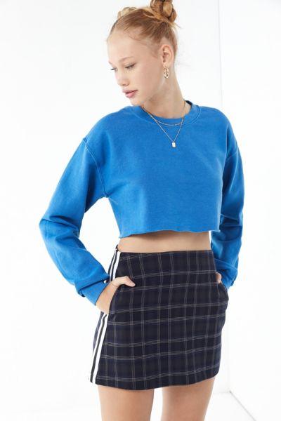 UO Trevor Plaid Side Stripe Mini Skirt