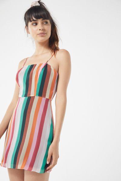 UO Vertical Rainbow Striped Mini Dress