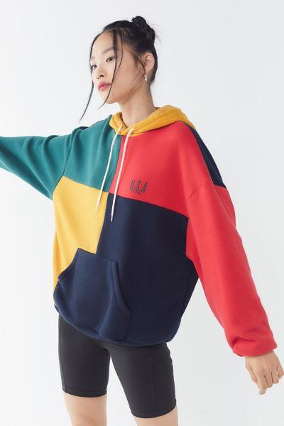U.S.A. Colorblock Hoodie Sweatshirt