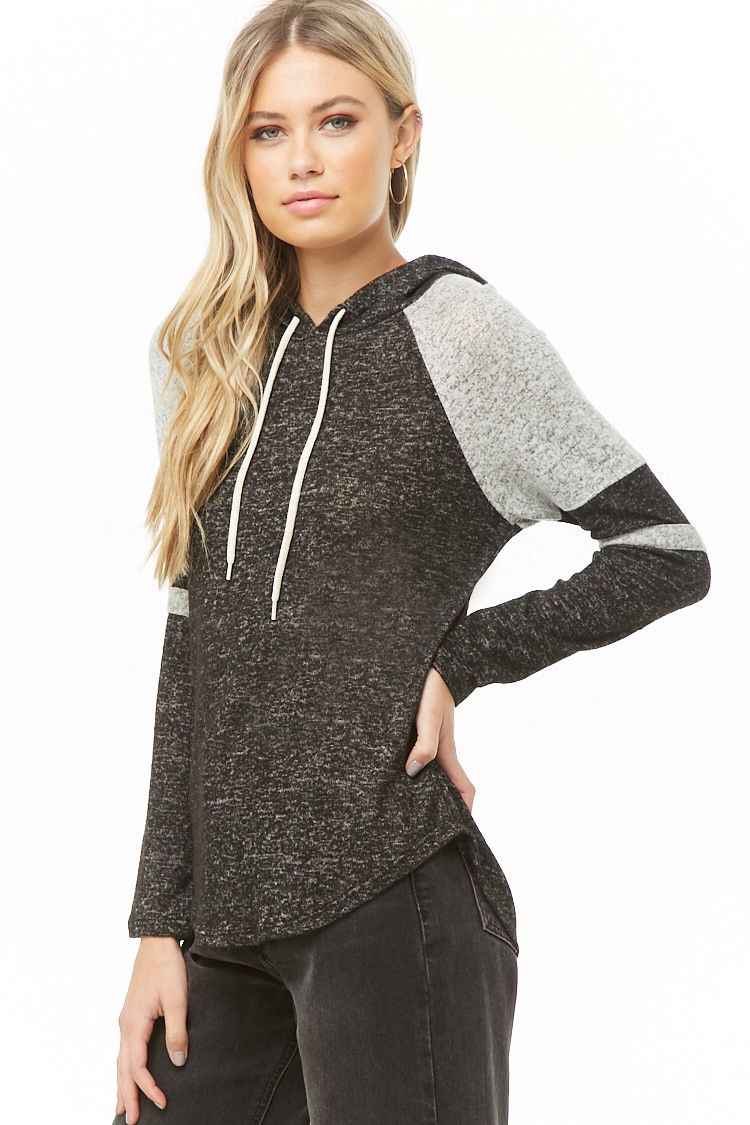 F21 Varsity Striped Hooded Top