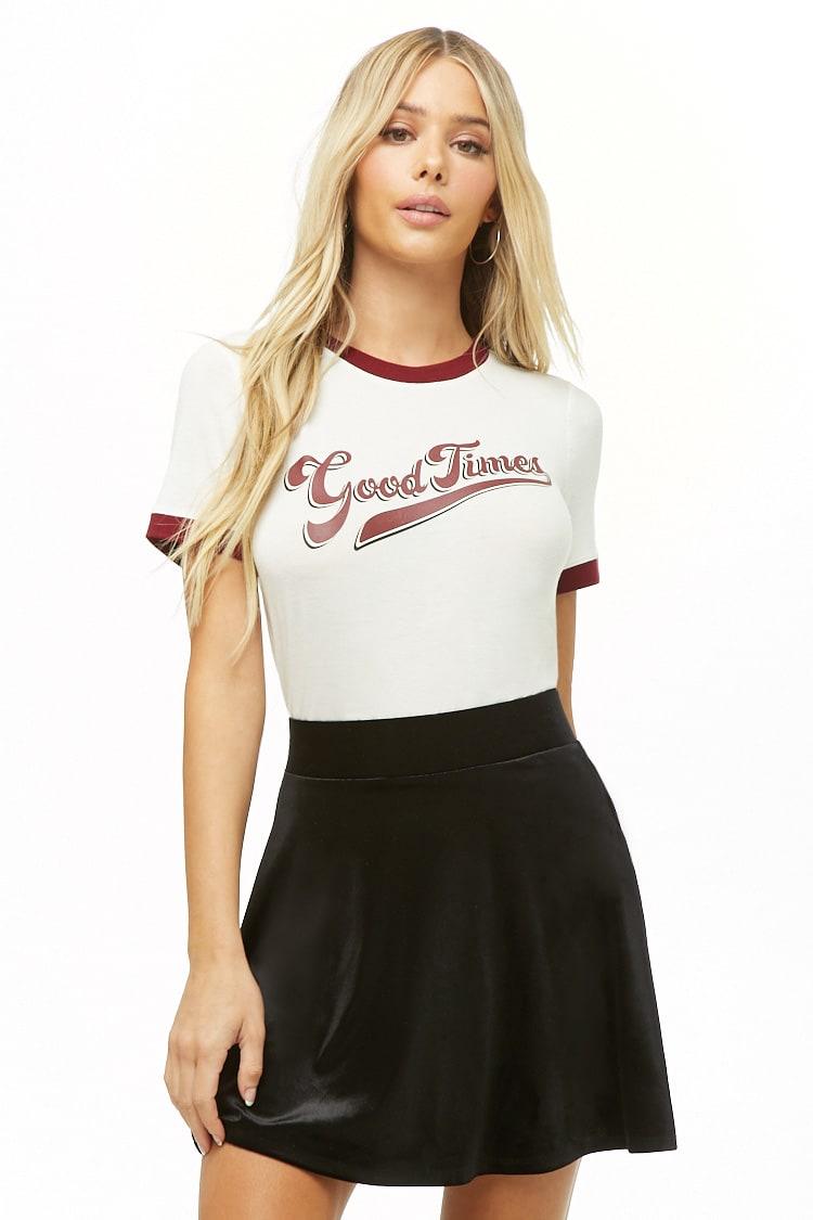 F21 Velvet Mini Skater Skirt