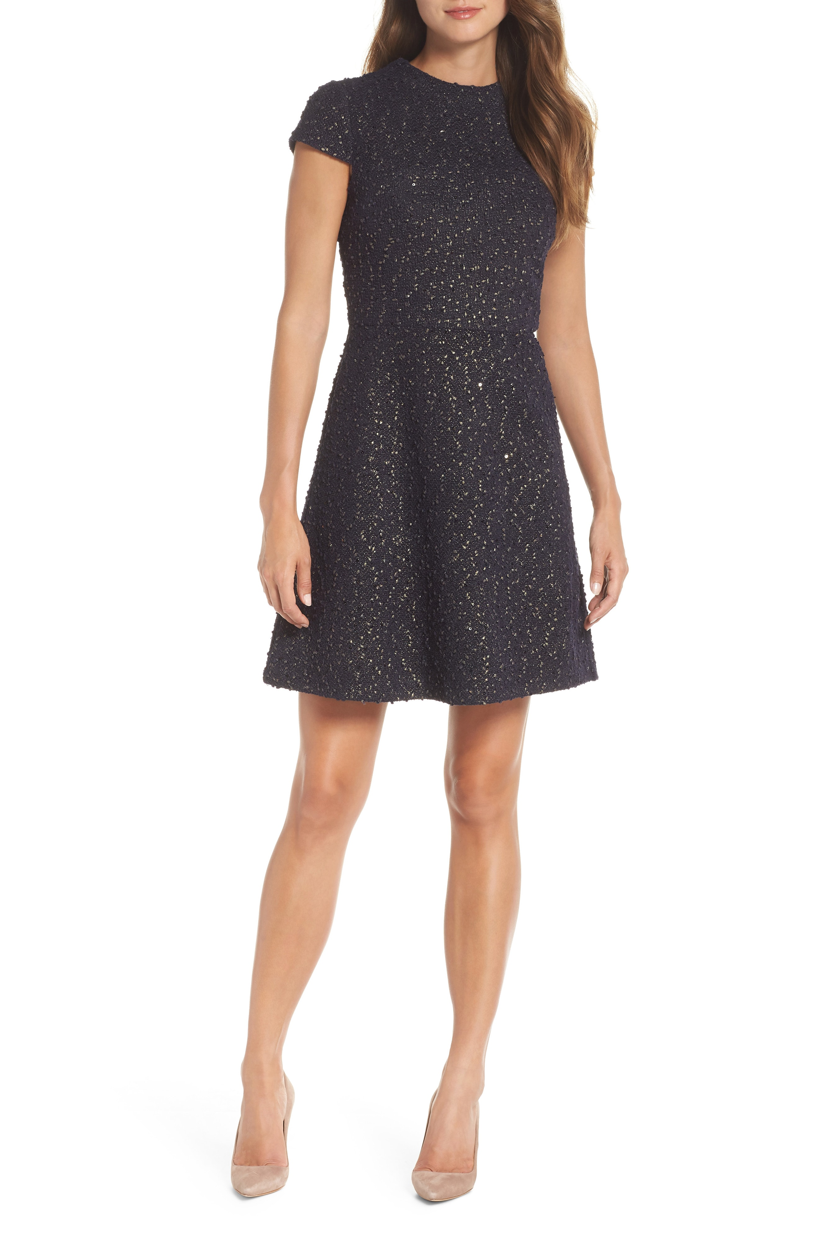 Vince Camuto Boucl Fit & Flare Dress