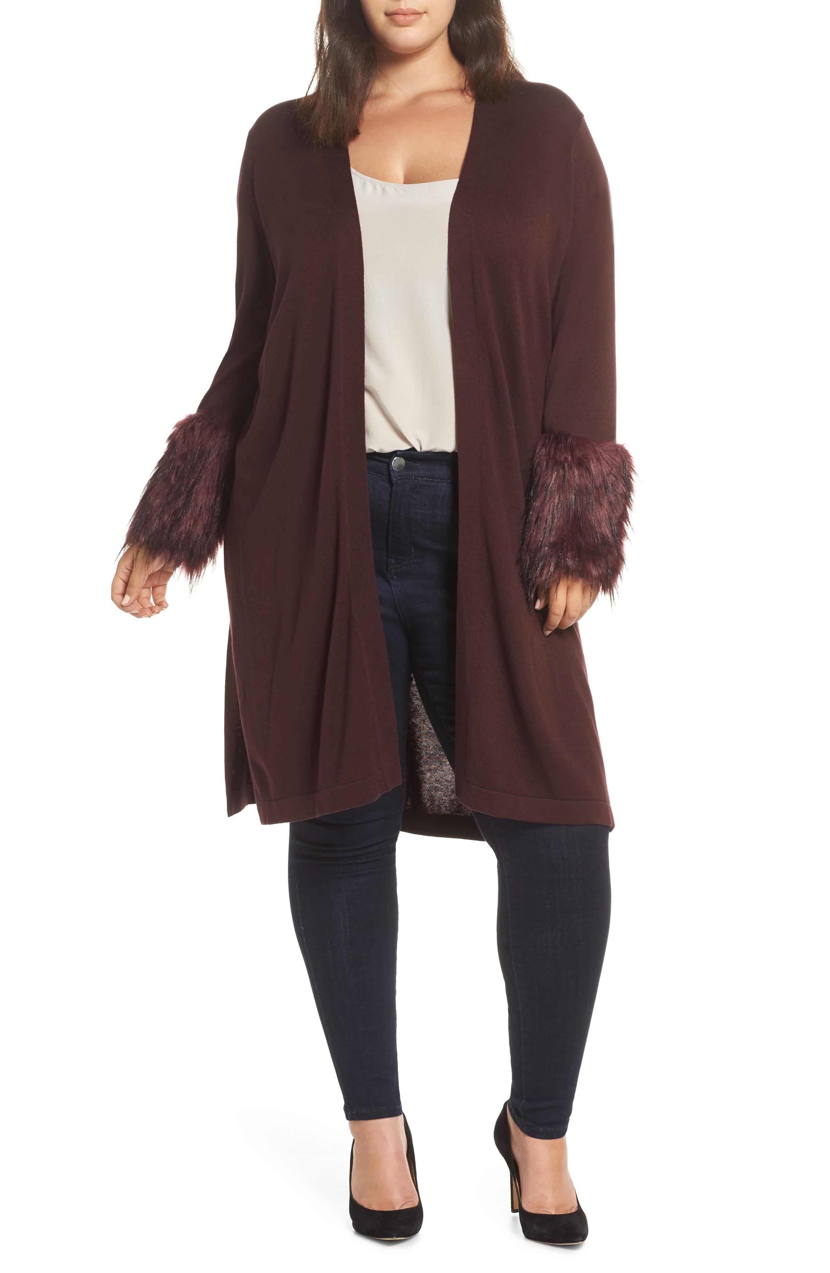 Vince Camuto Faux Fur Cuff Cotton Blend Cardigan (Plus Size)
