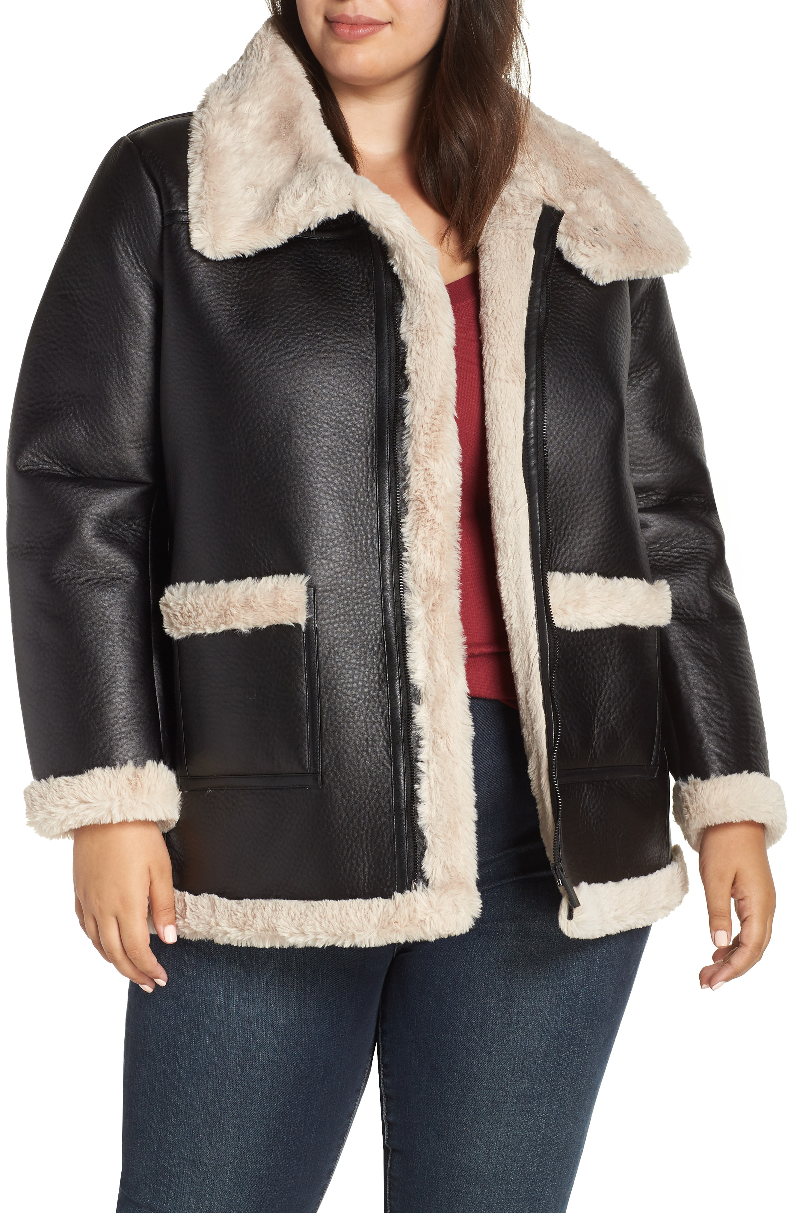 Vince Camuto Faux Shearling Jacket (Plus Size)