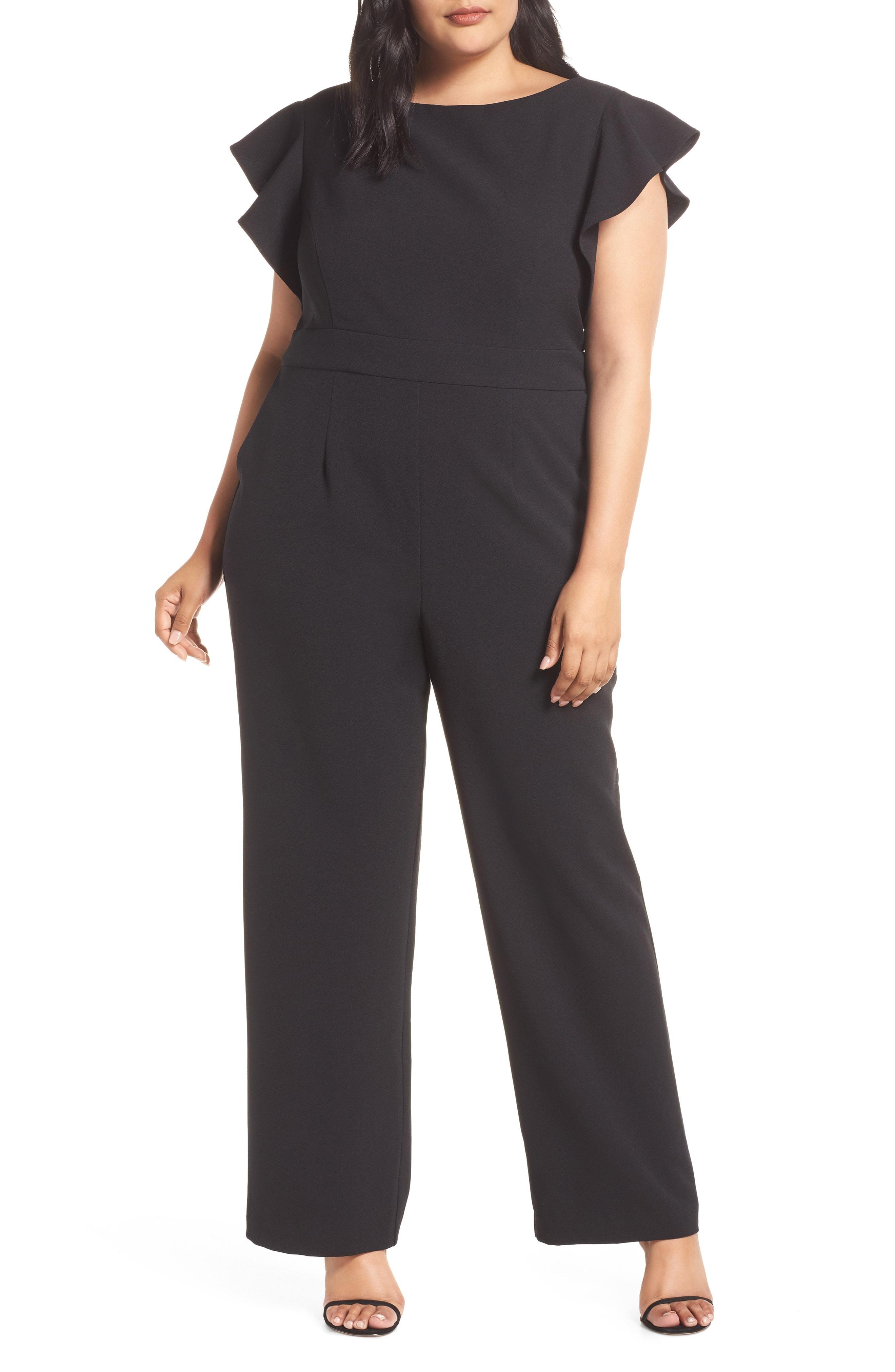Vince Camuto Flutter Sleeve Crepe Jumpsuit (Plus Size)