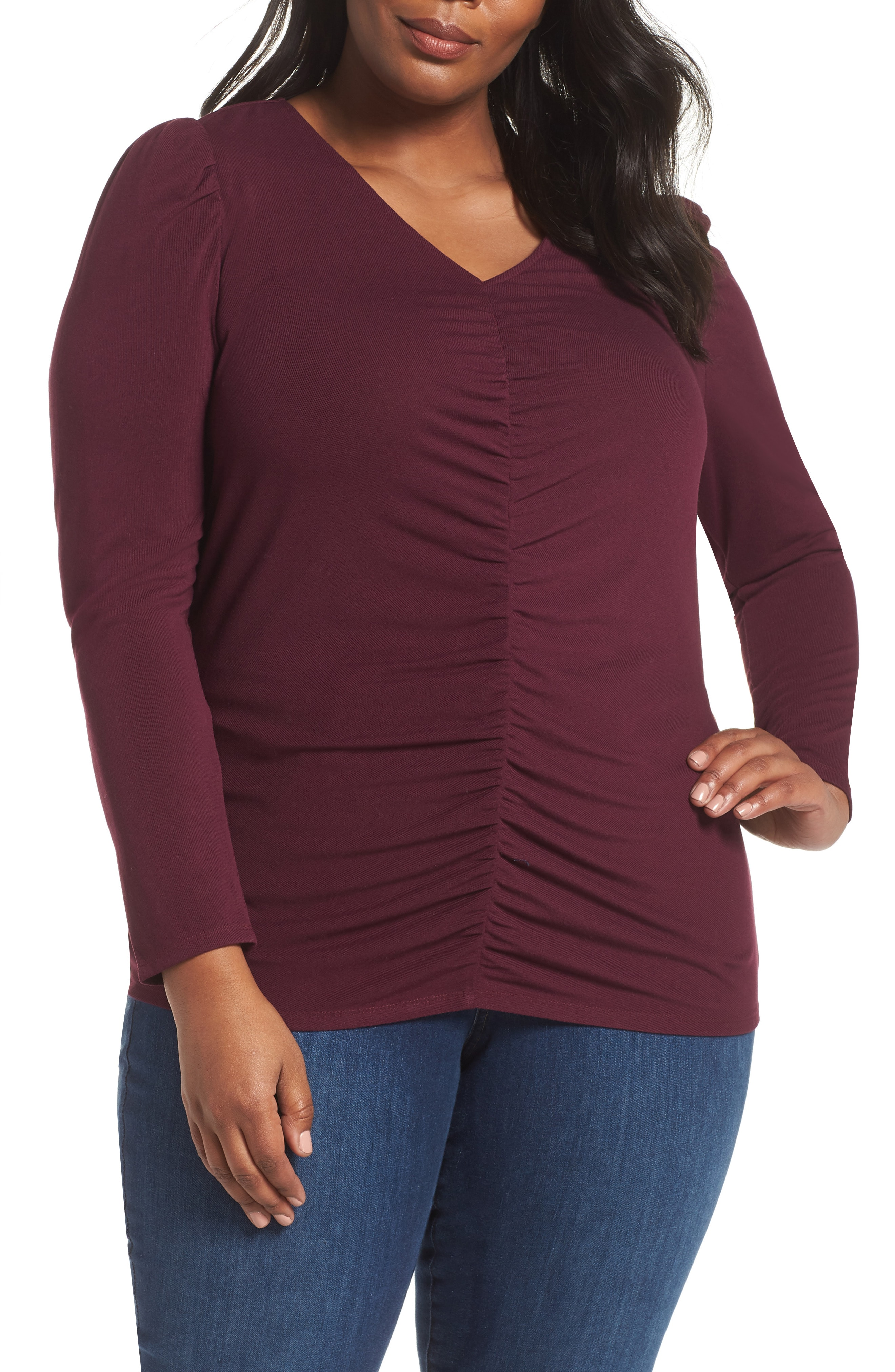 Vince Camuto Puff Shoulder Ruched Top (Plus Size)