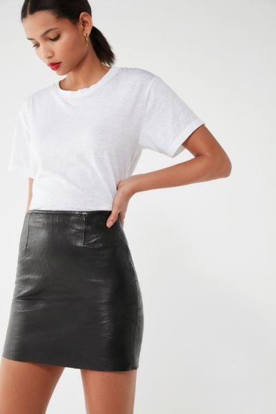 Vintage High-Rise Leather Mini Skirt