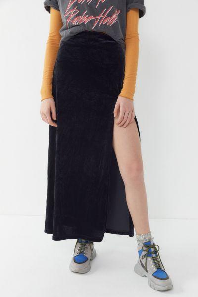 Vintage Velvet Slit Midi Skirt