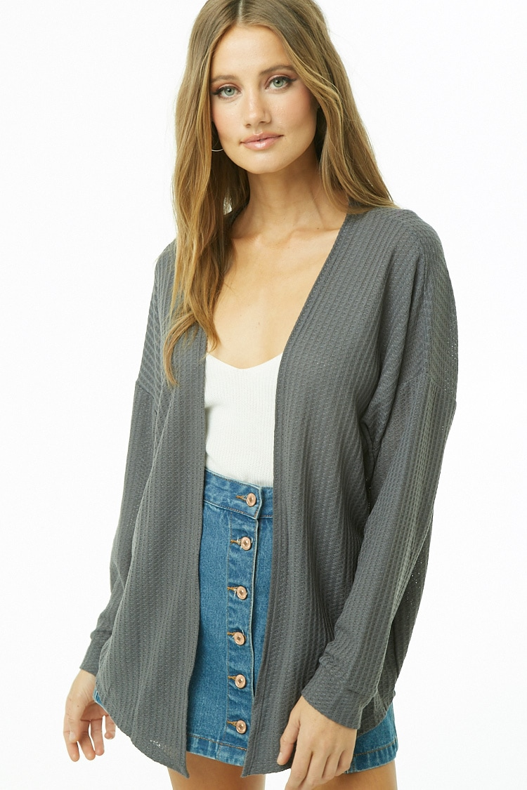 F21 Waffle Knit Open-Front Cardigan