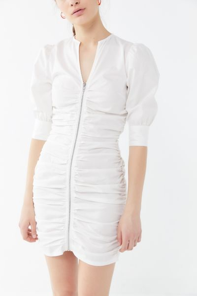 Winter Muse Connor Ruched Zip-Front Mini Dress