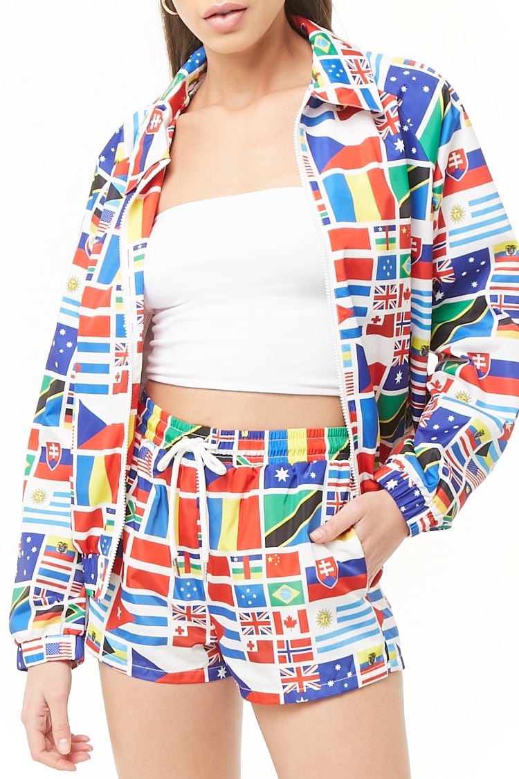 F21 World Flags Graphic Shorts