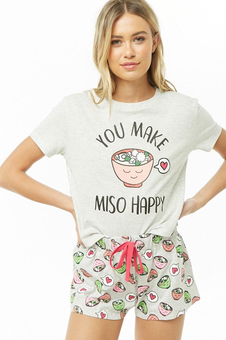 F21 You Make Miso Happy Graphic PJ Set