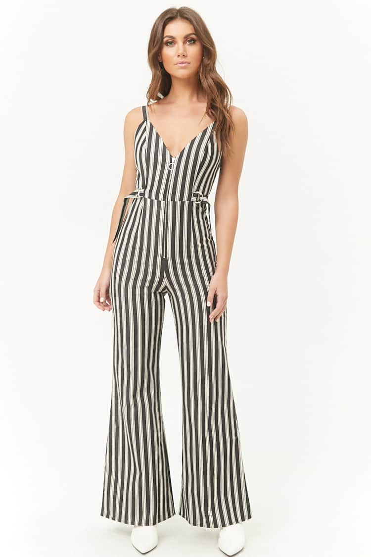 F21 Zippered Striped Jumpsuit